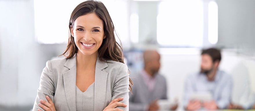 Smiling female project manager.